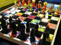 Auction project chess set - teacher paints all the black, and the kids paint the rest! It looks AMAZING!