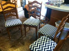 Reupholstered dining room chairs! Love the chevron!