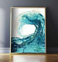 Ocean Print Abstract Art Prints Surf Art Ocean Art Beach Decor Wave Art Nautical Prints Wave Painting Waves Wall Art Surfing Poster by CraftyCowDesign by Crafty Cow Design Ocean Wave Painting, Wave Art, Chakra Painting, Surf Kunst, Art Surf, Nautical Prints, Nautical Art, Art Abstrait, Painting Inspiration