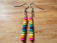 Rainbow wooden seed bead earrings