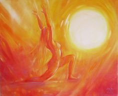 Inspired by yoga, this inspirational painting translates the salute to the sun into paint with vivid colour and a feeling of movement and strength. The painting is 24 inches wide by 20 inches high, and comes stretched on a wooden frame and ready to hang. £115