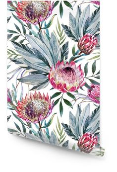 Raster tropical protea pattern Wallpaper ✓ Easy Installation ✓ 365 Days to Return ✓ Browse other patterns from this collection! Large Print Wallpaper, Vinyl Wallpaper, Wallpaper Roll, Pattern Wallpaper, Washable Wallpaper, Closet Office, Elegant Designs, Blue Wallpapers, Home Textile