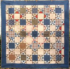 Antique, about 1880; indigo and brown,similar to a Laundry Basket quilt design.   Beautiful.