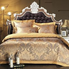 Find More Bedding Sets Information about 4pcs Silk Bedding Set Bedclothes Embroidery Bed Linen Jacquard Duvet Cover King Queen Size Gold Bedspread Cotton Sheet,High Quality jacquard comforter set bedding,China jacquard fur Suppliers, Cheap jacquard fashion from Lena Small Wholesale Shop on Aliexpress.com