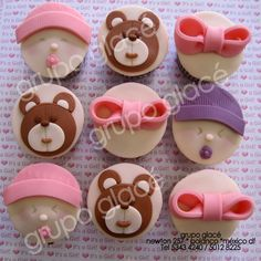Cupcakes Baby Shower Baby Girl I Fruit Cupcakes, Brownie Cupcakes, Fondant Cupcakes, Cupcake Cakes, Cup Cakes, Baby Shower Cupcakes, Birthday Cupcakes, Shower Baby, Shower Cakes