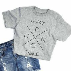 "This is a heather blended unisex tee with our ""Grace Upon Grace"" X design. FIT: Unisex - Runs true to size. *Heathered grey with vintage charcoal design. T-Shirt Custom Trends Christian Clothing, Christian Shirts, Christian T Shirt Design, Christian Apparel, Christian Crafts, Jesus Shirts, Vinyl Shirts, Textiles, Diy Shirt"