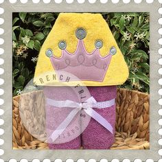 Princess Crown hooded towel design. #Embroidery #Applique