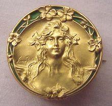 Superb Signed French 18Kt. Gold & Plique a Jour Art Nouveau Pin