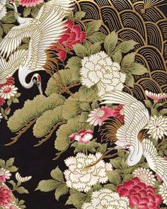MAIN PHOTO is a representation of the types of fabric, not all will be included in that photo. Japanese Patterns, Japanese Prints, Japanese Fabric, Japanese Art, Crane Tattoo, Asian Flowers, Art Japonais, Geisha, Chinese Art