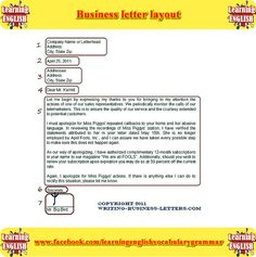 business cvletter layout example  - learning English