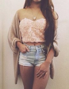 Roses crop top with high waisted shorts  OMG!!! LOVE THIS SHIRT :D :D I NEED IT
