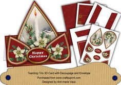 Floral Red Candle Happy Christmas Teardrop Trio Kit on Craftsuprint - Add To Basket!