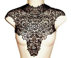 Black Venise lace applique lace appliques by Threads2Trends, $14.60