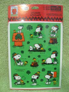 PEANUTS SNOOPY STICKERS Vintage St Patrick's Day SEALED WOODSTOCK Hallmark Cards #Hallmark