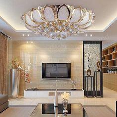 Moderna flor de loto e14 oro cristal de lámpara de techo para el dormitorio sala de estar Venta - Banggood.com
