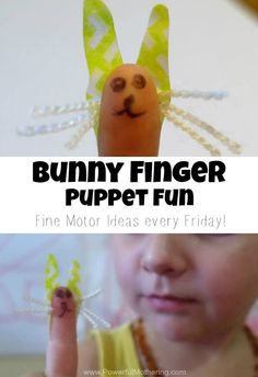Make this cute bunny finger puppet with the kids! Great fine motor exercise and tons of FUN!