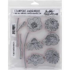 Flower Garden Red Rubber Stamp Set by Tim by PicturesInTimeToo