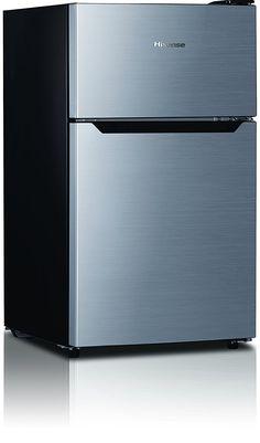 Hisense RT33D6BAE Compact Refrigerator With Double Door Top Mounted  Freezer, 3.3 Cu. Ft.