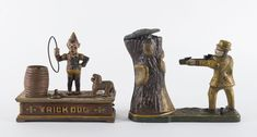 Two Mechanical Banks, TRICK DOG and TEDDY AND THE BEAR, painted cast iron, the taller 19cm high / MAD on Collections - Browse and find over 10,000 categories of collectables from around the world - antiques, stamps, coins, memorabilia, art, bottles, jewellery, furniture, medals, toys and more at madoncollections.com. Free to view - Free to Register - Visit today. #MoneyBanks #MADonCollections #MADonC