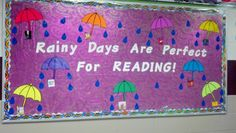 """Rainy Days are """"Purrfect"""" for Reading- Can use kitty cat pictures/puppets for the background for a cute switch-up!"""