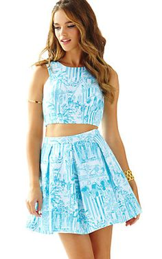 Funky Garage: Lilly Pulitzer's 'Melody Crop Set' in La Viva Loca is to die for this season! Fitted bodice with flare skirt is perfect for a night out or a day in town! Link attached: http://www.lillypulitzer.com/product/melody-crop-top-pleated-skirt-set/9035.uts?keyword=la%20viva%20loca&swatchName=Resort+White+La+Via+Loca