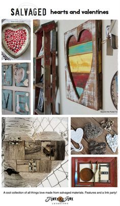 Salvaged hearts and valentines - a cool collection of all things love made from salvaged materials! via FunkyJunkInteriors.net