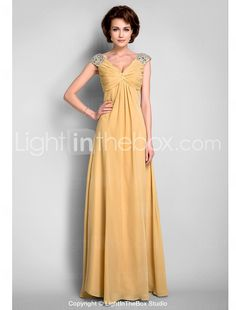A-line V-neck Floor-length Chiffon Mother of the Bride Dress - USD $ 149.99