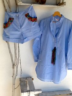 Shorts & tunic from India with Guatemalan textiles applications made in Portugal