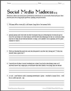 Social Media Madness Worksheet #4 - Fourth free printable worksheet in this series. Sure to excite the interest of junior and senior high school students.