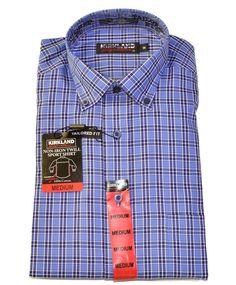 b994ace2ace96 Kirkland Mens Non Iron Tailored Fit Sport Shirt Long Sleeves Twill Medium  Blue  Kirkland Slim