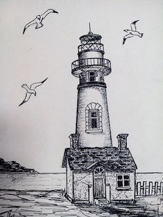 Pencil Sketch Drawing, Pencil Art Drawings, Art Drawings Sketches, Easy Drawings, Action Painting, Painting & Drawing, Lighthouse Drawing, Architecture Drawing Sketchbooks, Landscape Drawings