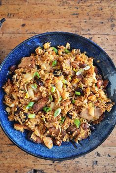 Packed with roasted pork, sweet Chinese sausage, spicy kimchi and sticky rice, this is an addictive and delicious dish from chef Andrew Zimmern. Rice Recipes, Asian Recipes, Dinner Recipes, Cooking Recipes, Ethnic Recipes, Crowd Recipes, Asian Foods, Chinese Recipes, Rice Dishes