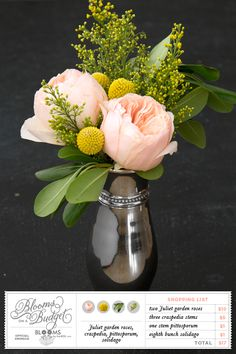 Blooms on a Budget from Somewhere Splendid. Sponsored by Blooms by the Box. Juliet garden roses, craspedia, pittosporum, solidago
