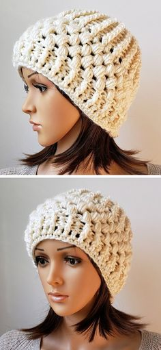 Verna Puff Stitch Hat Free Crochet Pattern Thick yarn and puff stitches create the softest and the most squishy structure. This beanie is an epitome of winter cosiness. It looks great in creamy white, but I bet it works amazing in different colors, too! Puff Stitch Crochet, Easy Crochet Hat, Crochet Hat For Women, Crochet Kids Hats, Crochet Scarves, Crochet Hooks, Free Crochet, Crochet Headbands, Crocheted Hats