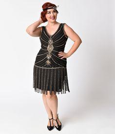 adbfb40a5f401 1920s Style Dresses Unique Vintage Plus Size Deco Black Antique Gold Beaded  Fringe Aelita Flapper Dress