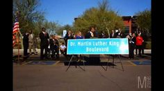 The unveiling of the ceremonial renaming of Broadway Road as Dr. Martin Luther King, Jr. Boulevard. The ceremony and press conference took place Thursday, January 15, 2015 at 10:00 AM at the Broadway Heritage Neighborhood Resource Center, located at the SE corner of 24th St. and Broadway, Phoenix, AZ.
