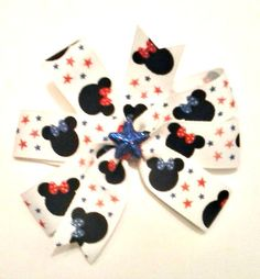 Minnie Mouse Hair Bow  Patriotic Hair Bow  4th by CCSBOWTIQUE2010