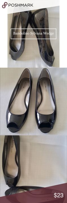 """Bandolino Sylvana Black Wedge Open Toe Dress Pumps Heel- 1 1/4"""". Man made upper and balance. Pre-worn with no noticeable signs of wear. Fits comfortably. Small rub on back of left foot. No discoloration. Bandolino Shoes Wedges"""