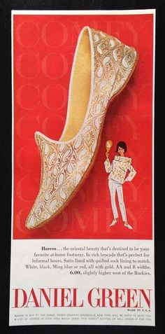 db167498cbf 1964 Daniel Green harem slippers genie theme 1 style vintage print ad   DanielGreen 1960s Fashion