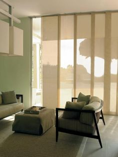 """Contemporary - The """"stack back"""" is only a few inches. Panel blinds for large windows - bedroom? Modern Window Treatments, Window Treatments Living Room, Living Room Windows, Bedroom Windows, Contemporary Windows, Modern Windows, Large Windows, Bay Windows, Curtains With Blinds"""