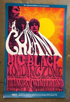 Original 4th printing concert poster for Cream at Winterland in San Francisco, CA in 1968.  21 7/16 x 32 7/16 inches. Artwork by Lee Conklin.