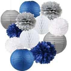 Buy Mixed Navy Blue Gray White Party Tissue Pompoms Flower Hanging Paper Lantern Honeycomb Balls Nautical Themed Vintage Wedding Birthday Baby Shower Nursery Decoration at Wish - Shopping Made Fun Navy Baby Showers, Grey Baby Shower, Baby Shower Table, Baby Shower Parties, Baby Shower Themes, Baby Boy Shower, Shower Ideas, Paper Lantern Centerpieces, Hanging Paper Lanterns