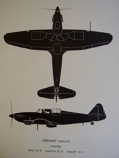 British Royal Air Force RAF Baulton Paul, Defiant. Second World War Two WW2 WWII Aeroplane Airplane Aircraft Recognition Poster Silhouette Diagram Fosh & Cross Ltd.