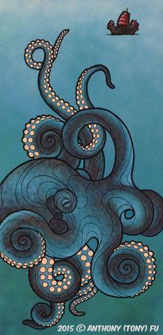 Release the kraken Octopus Drawing, Octopus Painting, Octopus Tattoo Design, Octopus Tattoos, Octopus Art, Octopus Sketch, Octopus Illustration, Kraken, Painting Inspiration