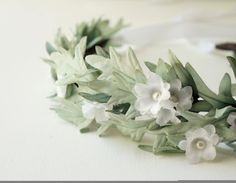 Mint and white flower crown, Bridal hair crown, Leafy hair wreth, Mint and white wedding accessory, Mint hairpiece, White flower crown on Etsy, $85.00