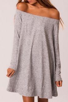 Gray Slash Neck Long Sleeve Dress