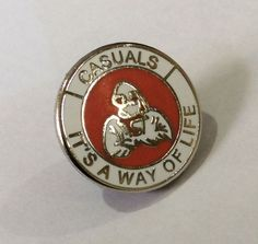 """Casuals """"It's a way of life""""Red / mms Push Back Fastener Aberdeen Football, Weekend Offender, Football Casuals, Way Of Life, Scotland, Red And White, Badge, Club, Fringes"""