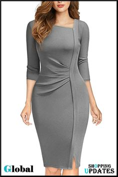Classy Work Outfits, Office Outfits Women, Casual Dress Outfits, Classy Dress, Short African Dresses, Latest African Fashion Dresses, Women's Fashion Dresses, Elegant Dresses, Dress Patterns