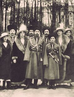 Emperor Nicholas II of Russia with his five children: Grand Duchesses Olga, Tatiana, Maria, Anastasia, and Tsarevich Alexei. Photograph taken at Mogilev, 1916.