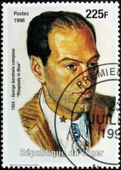 NIGER - CIRCA 1998: A postage stamp printed by Niger shows image portrait of famous American composer and pianist George Gershwin (1898-1937).